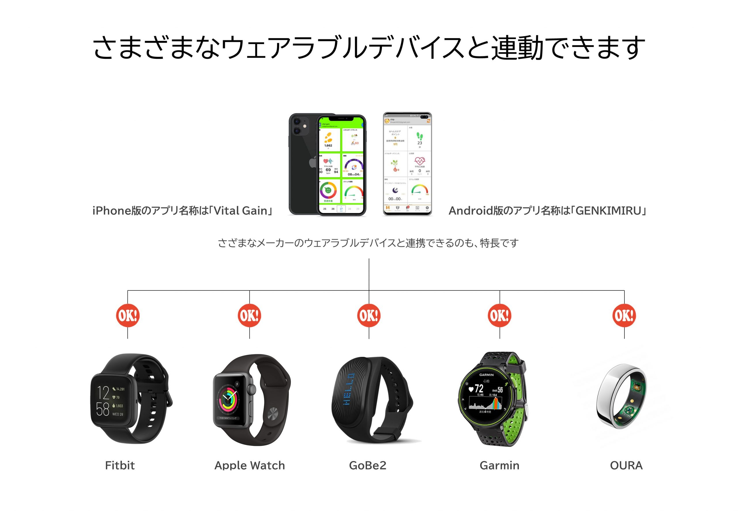 Fitbitとも、Garminとも連携できます